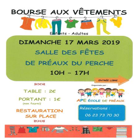 Bourse aux vêtements organisée par l'APE de Préaux