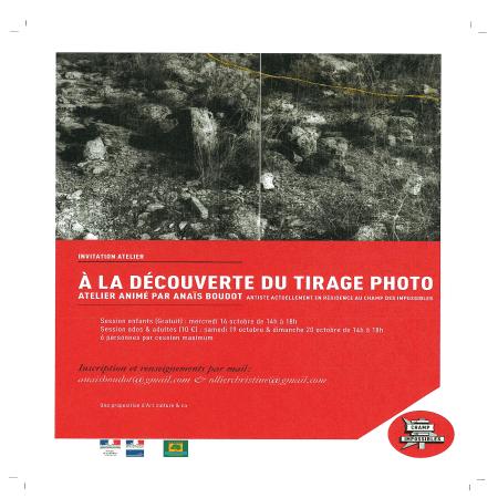 """Atelier """"A la découverte du tirage photo"""" animé par Anaïs BOUDOT"""